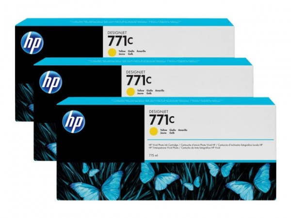 HP 771C Tinte Z6200 3er Pack yellow B6Y34A