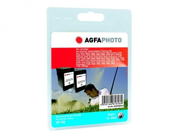 AGFAPHOTO HP56 Doppelpack DJ5550 Tinte Black