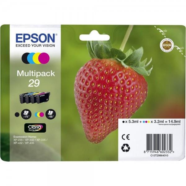 Epson Tinte Erdbeere 29 Claria Home Multipack 29 4er-Pack XP-235 XP-332 XP-345 XP-432