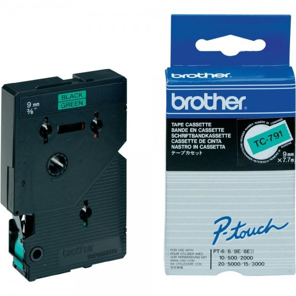 Brother TC791 P-TOUCH 9mm Schwarz auf Grün 7,7m laminated