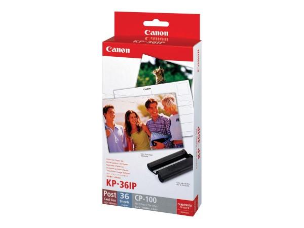 Canon KP-36IP Fotopapier 100x148mm 36 Blatt +Tintenkassette für Selphy CP Rückseite Postkartenformat