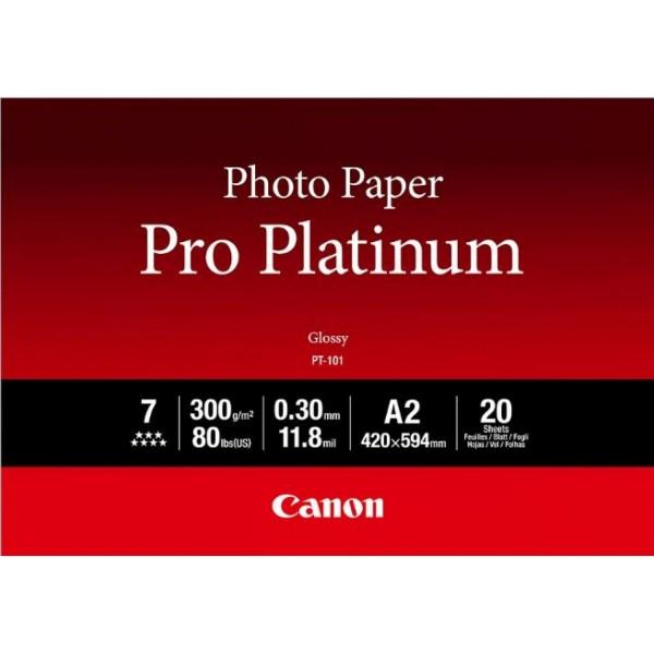 Canon PT-101 Fotopapier Pro Platinum A2 20 Blatt Makroporöse Beschichtung, schwer 2768B067