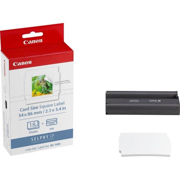 Canon KC-18IS Papier + Tinte für Selphy CP910 CP1000 5,33x8,64cm 2.1x3.4Zoll 18 Blätter