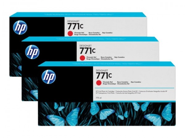 HP 771C Tinte Z6200 3er Pack chromatic red B6Y32A