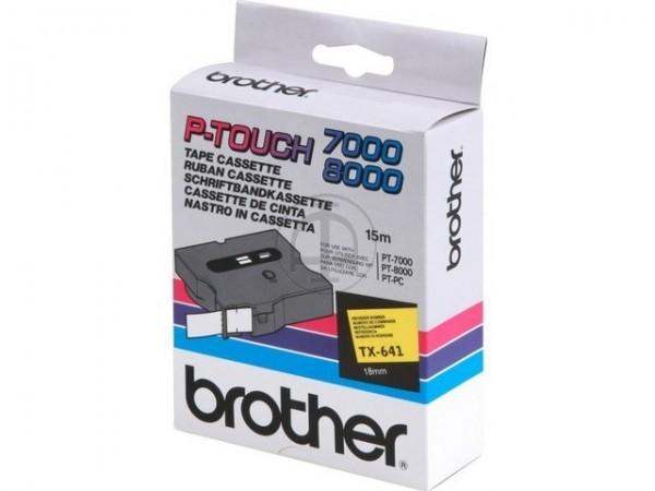Brother TX641 P-TOUCH 18mm Schwarz auf Gelb 15m laminated