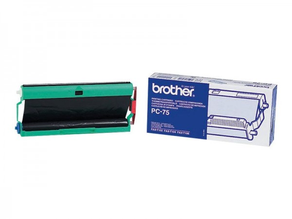 BROTHER PC-75 Farbbandkassette schwarz FAX-T102 T104 T106 144 Seiten 1er-Pack Original