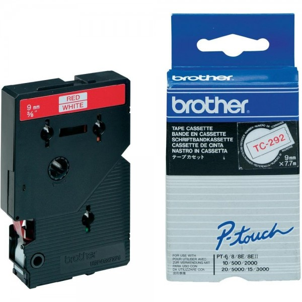 Brother TC292 P-TOUCH 9mm Rot auf Weiß 7,7m laminated