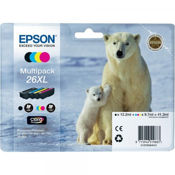 Epson Tinte 26XL Eisbär Multipack für Expression Premium XP-600 XP-605 XP-700 XP 800