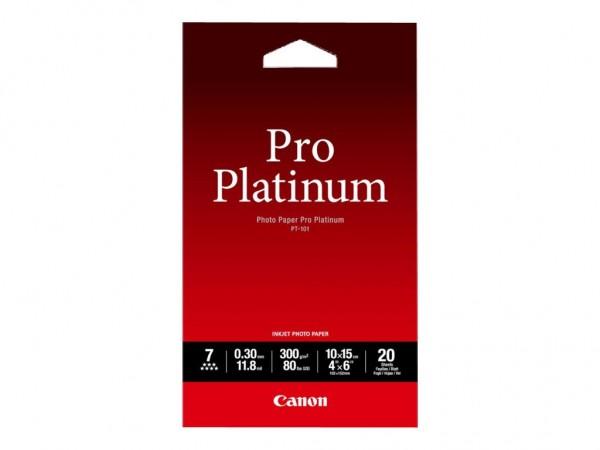 Canon PT-101 Pro Platinum Fotopapier Inkjet 300g/m² 10x15cm 20 Blatt 1er-Pack