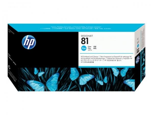 HP 81 Druckkopf -dye- Cyan C4951A incl. Reiniger DJ5000 DJ5500 Serie