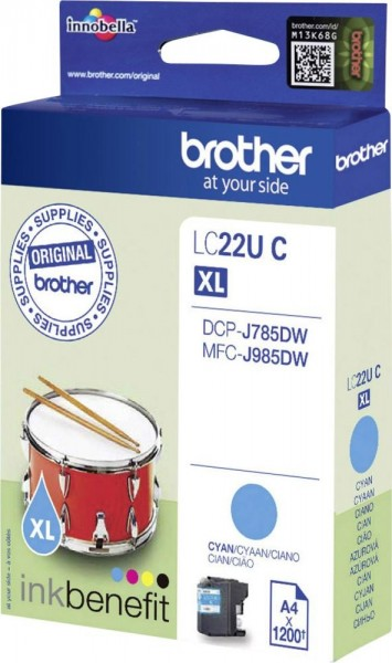 Brother LC-22UC Tintenpatrone Cyan für DCP-J785DW MFC-J985DW