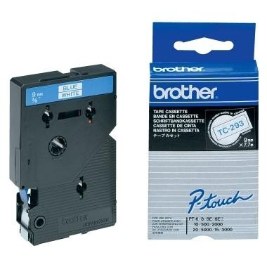Brother TC293 P-TOUCH 9mm Blau auf Weiß 7,7m laminated