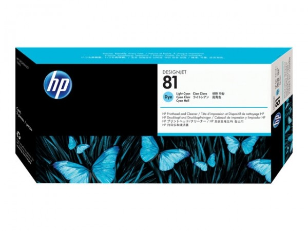 HP 81 Druckkopf -dye- C4954A Cyan hell incl. Reiniger HP DesignJet 5000 DJ5500 Serie