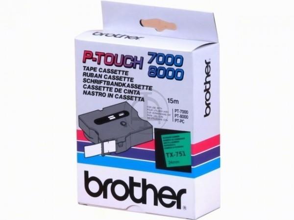 Brother TX751 P-TOUCH 24mm Schwarz auf Grün 15m laminated