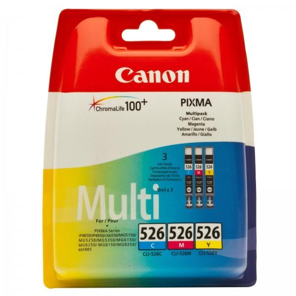 Canon Multipack CLI-526 C/M/Y für Pixma IP 4850 4950 MG5150 5250 8150 MX715 885 ohne Black 4541B009