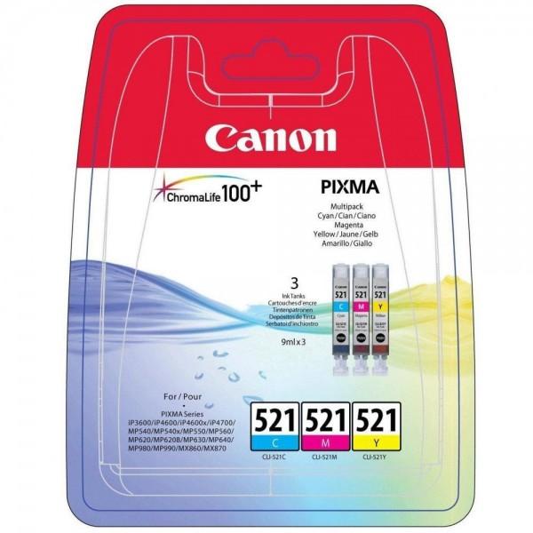 Canon Multipack CLI-521 C/M/Y iP4600 iP4700 MP540 MP620 MP980 MX870 2934B010 ohne Black