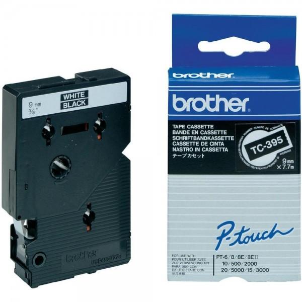Brother TC395 P-TOUCH 9mm Weiß auf Schwarz 7,7m laminated